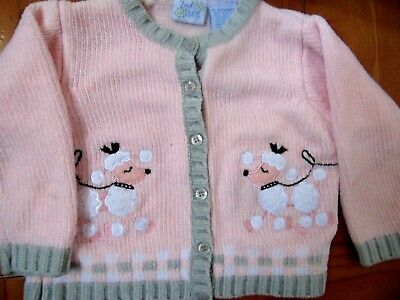 2nd Step baby girl POODLE PINK cardigan sweater 18 month acrylic