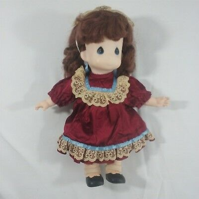 "Vintage Precious Moments Red Victorian dress retro hat headpiece vinyl 12"" doll"