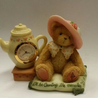 Cherished Teddies Girl W/Bonnet And Teacup Mini Clock 789909 NIB
