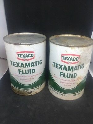 Lot Of 2TEXACO TEXAMATIC DEXRON  FLUID 1 QUART CANS Vintage FULL UNOPENED Dma13