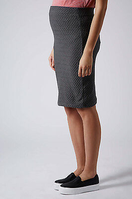 NWT TOPSHOP Maternity Jersey Texture Tube Skirt Charcoal Gray Size 4 US
