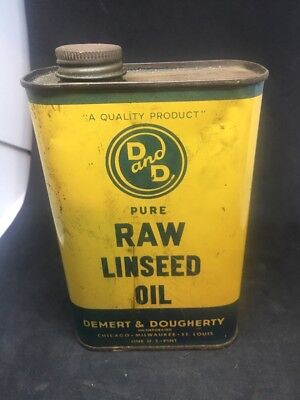 Vintage 1 Pint D and D Pure Raw Linseed Oil Can Chicago Illinois. Dma14