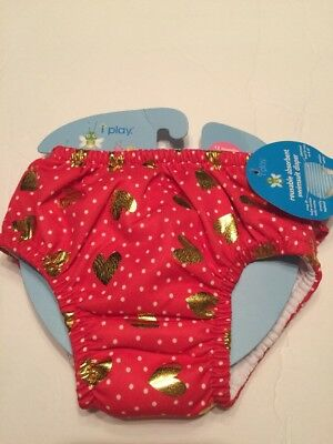 I Play Girls Absorbent Swimsuit Diaper Hearts Size 12 Months Brand New