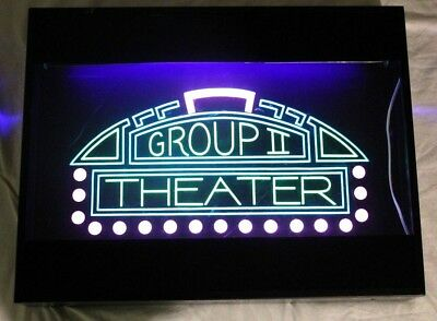RARE Vintage Light Up GROUP II THEATER Neon Style Blacklight Sign! Home Theater
