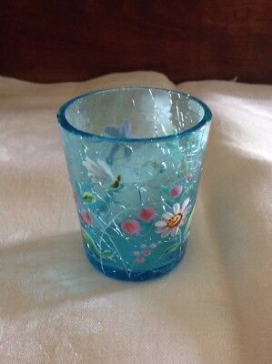 """Antique Blue Crackle Glass 2 1/4"""" Tall Cordial-Shot Glass-Enamel Painted Flowers"""