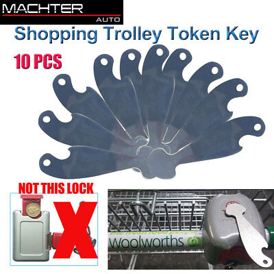 10PCS Shopping Retractable Shopping Trolley Token Key Coles Woolies Without Coin