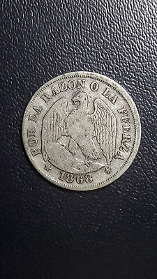 Coin Silver Chile 20 cents year 1868 Good Grade excellent condition