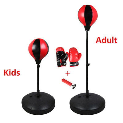 Punch Bag Ball And Mitts Gloves Kit Boxing Set For Kids/Adult Free atand On Sale