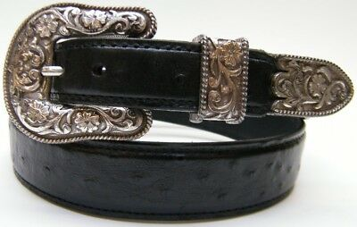 Old Sonora Black Ostrich Quill Print Leather Cowoby Western Belt Sz 34