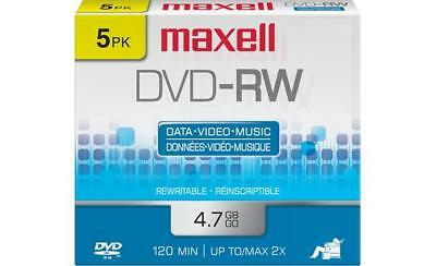 NEW Maxell DVD-RW 120 Min 4.7 GB Data Video Music ReWriteable 5 Pack