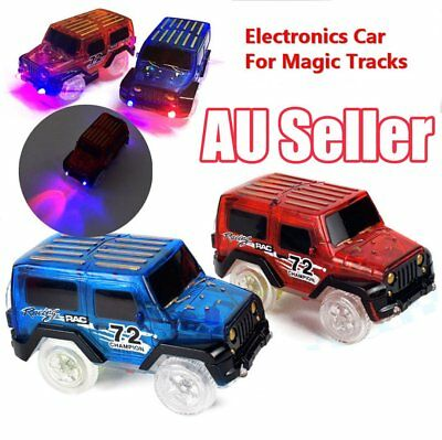 LED Light Up Cars For Magic Tracks Electronics Car Toys With Flashing Lights AU