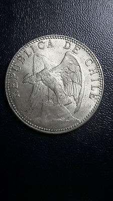 Coin Silver Chile 1 Peso year 1895 High Grade original shane excellent condition