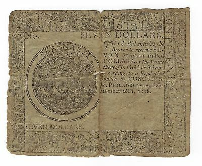 Continental Currency,  Seven Dollars, Philadelphia, September 26, 1778