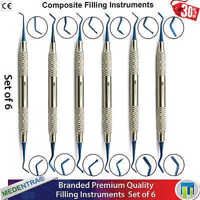 X6 Dental Amalgam Plastic Filling Instruments Titanium Coated Composite Scalers