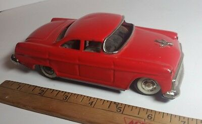 Tin Toy Asahi gangu Sedan Red Car made in Japan 1955 Vintage FOR PARTS