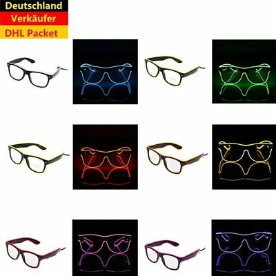 EL Wire LED Karneval Festival Atzenbrille Leuchtbrille Glasses Brille Shapped LY