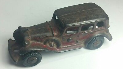 Vintage Old Antique Cast Iron 1930's Red Paint Car Coupe Hubley Arcade Toy