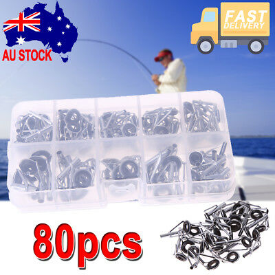 80Pcs Fishing Rod Guides Top Tips Set Repair Kit DIY Eye Rings with Plastic Box