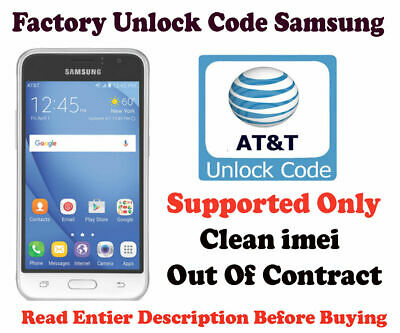 Unlock Code for AT&T Samsung Galaxy J7 S6 S7 Edge S8 S8 Plus J3 Active Note 8 7