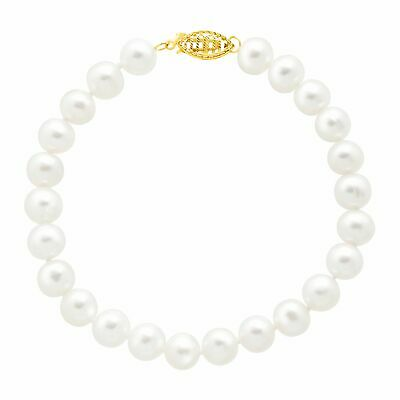 Classic 7 mm Freshwater Pearl Strand Bracelet with 14K Gold Clasp