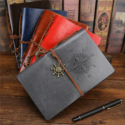 Retro Loose Blank Paper Notebook Notepad Faux Leather Journal Diary Sketchbook #