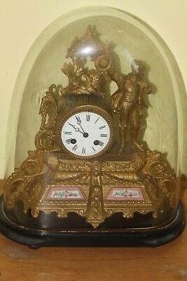 Antique 19th Century French Gilt Mantle Clock stand and dome.