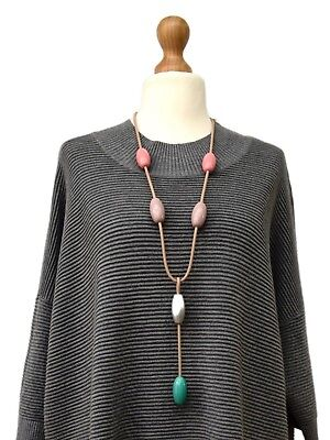 Lagenlook*lolilota*amazing Art Long Necklace/pendant Rubber+Metal*quirky Design*