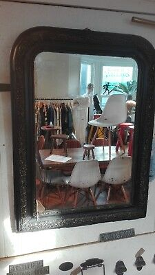 large Antique french mirror 106 cm tall 78 cm wide Distressed frame foxed plate