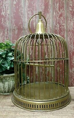 "Vintage Solid Brass Birdcage Swing Hanging Loop Shabby Decor 14"" Inches Tall"