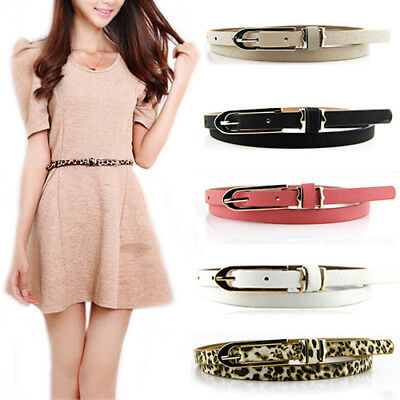 Lady Women Korean Sweet Faux Leather Thin Skinny Buckle Belt Waistband Nice