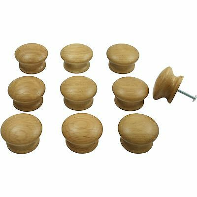 10 x Solid Oak Wooden Door / Drawer Knobs | kitchen cupboard cabinet handle 44mm