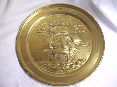 Antique VINTAGE Nautical BRASS Galleon SAILING SHIPS Ornamental PLAQUE Plate 17""