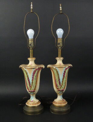 Pair vtg hand painted lamps ceramic multi color gold signed