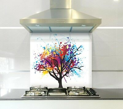 Abstract Tree Glass Splashback in Various Sizes Heat Resistant to 500°C