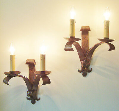 Lovely Pair Wrought Iron Sconces Wall Lights French Gothic Appliques Fer Forge