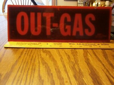 """1960's Vintage Judy Distress Signal Out - Gas  Sign Lens Red 11 """" Estate Find"""