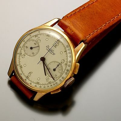 17 Jewel 18K Gold Breitling Premier Chronograph Watch Ca1940S Timeless Classic!