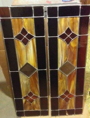 "Vintage Pair (2) Leaded Stained Glass Door Panels- Each  38 1/2"" x 12""..Gorgeous"