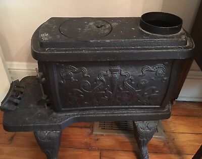 Antique Cast Iron Box Stove Yule 18 Great Detail Nice Condition From 1880 Home