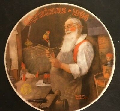 1984 Santa in Workshop 11th Christmas Series Norman Rockwell Collector Plate