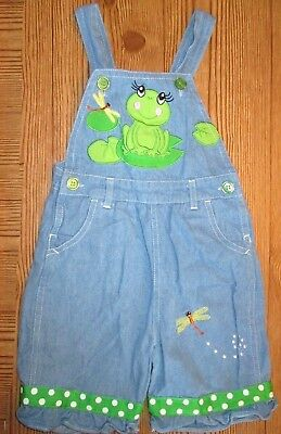 Cre8Ions Toddler Girls Blue Denim Green Polka Dot Frog Shorts Ruffle Overalls 3T