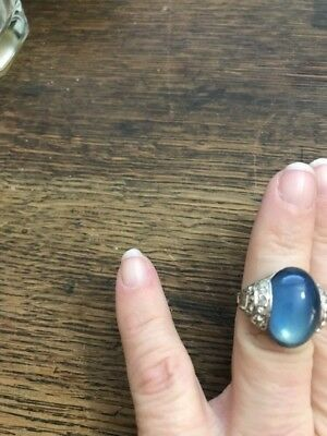 Antique Vintage Art Deco Costume Moonstone Rhinestone Ring Estate Piece