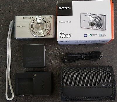 Sony Cyber-shot DSC-W830 20.1MP Digital Camera - Silver and extra charger / case