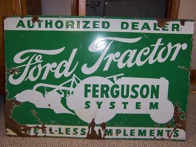 Original 1940's Ford Tractor Ferguson 2 sided Green & White Porcelain sign 36x24