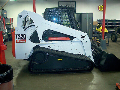 2007 Bobcat T320 Skid Steer Track Loader Cab Heat air Hi Flo Power Bobtach