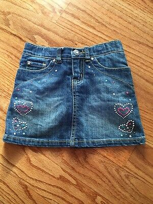 Childrens Place Jean Skirt Heart Sparkles Adjustable Waist Girls Size 5 Privacy