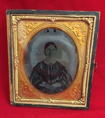 Antique 19Th C. Ambrotype Of Woman In Split Union Case Embossed Leather On Wood