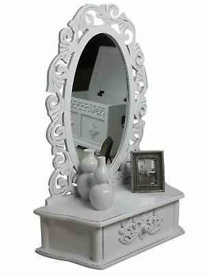 Make-Up Mirror Mirror Table Attachment New White Antique Vanity Cottage Wood