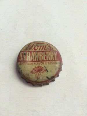 Tom's Strawberry Soda Bottle Cap South Carolina Tax Paid Stamp Used Corked