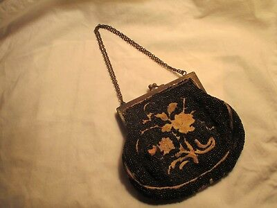 Antique Beadwork And Crewell Purse Made In France